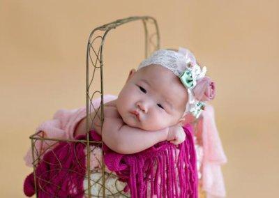 artistic newborn baby girl in the basket