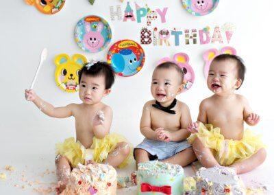 triplet 1 year old cake smash